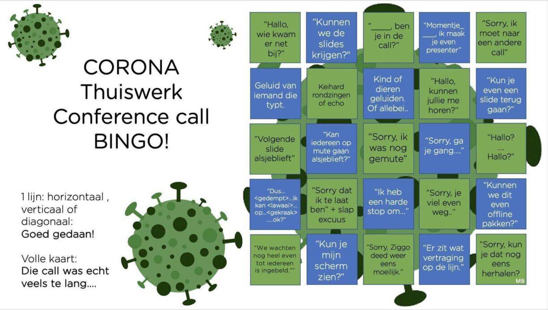 corona thuiswerk conference call bingo